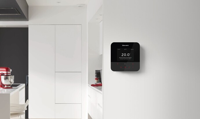 Glow-worm MiSet heating control on a kitchen wall